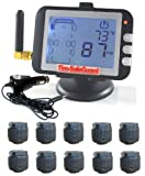 10 Tire RV Cap Sensor Tire Pressure Monitoring System (TPMS)