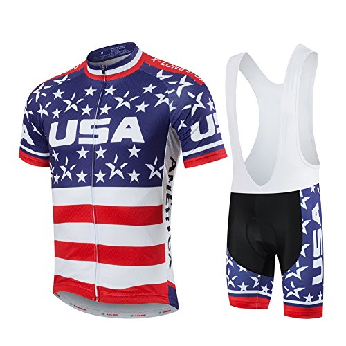 Xinzechen Short Sleeve Cycling Jersey and 3D Padded Bib Shorts Set USA Flag Size L