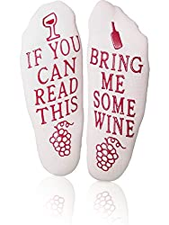 Wine Down Socks Unique Thick Cozy Funny Non-slip Bring Me Some Wine Novelty Gift Ankle Socks, Perfect Gift For Women, Mothers Day Gifts, Wine Lovers, Birthday Gifts, Bridesmaids Gift, Holiday, Treat