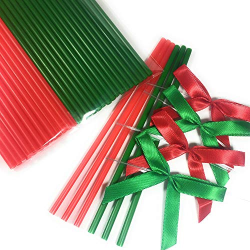 50pcs X (6 in. Red and Green Lollipop Sticks + Ribbon Bows) for Christmas Party ()