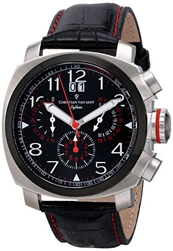 Christian Van Sant Men's CV3AU1 Grand Python Analog Display Swiss Quartz Black Watch