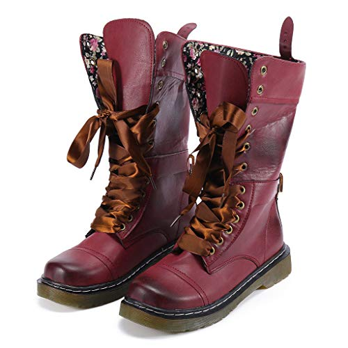 Women's Retro Shoes Clearance Sale, NDGDA Low-Heeled Leather Boot Non-Slip Round Toe Lace-Up Middle Boot by NDGDA Fashion Women Boots (Image #1)