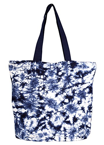 Peach Couture Beautiful Pattern Cotton Canvas Tote Bag Handbags Shoulder Bags Tie Dye (Midnight Tie Dye)