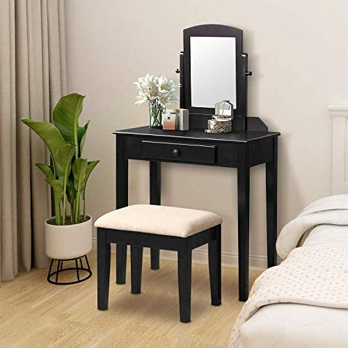 Harper Bright Designs Vanity Table Set Make-up Dressing Table Vanity Table for Women Girls Vanity Table with Mirror and Cushioned Vanity Stool 1 Drawer Black