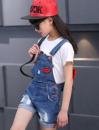 Big Girl's Denim Jumpsuit Boyfriend Jeans Cute Fashion Denim Romper Shortalls 9-10Years by Juakita Barpsa (Image #4)