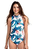 AXESEA Womens Retro One Piece Swimsuit Sleeveless Printed Surfing Bathing Suit