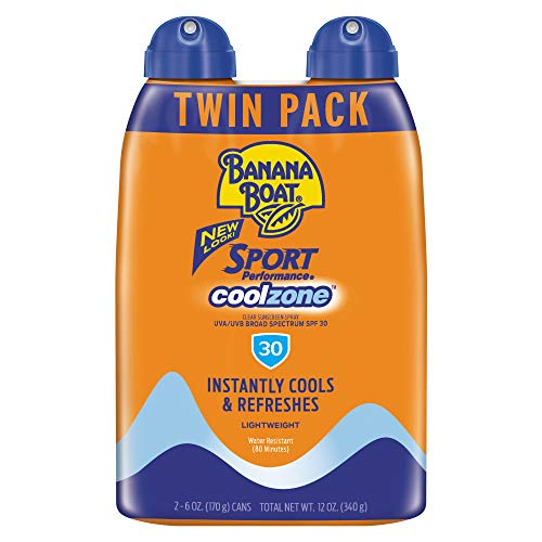 Banana Boat Sunscreen Sport Performance Coolzone, Broad Spectrum Sunscreen Spray - SPF 30 - 6 Ounce Twin Pack
