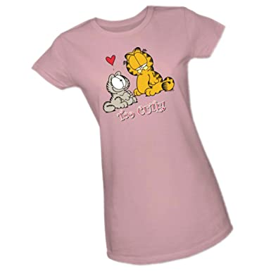 872e3079 Amazon.com: Too Cute - Garfield Crop Sleeve Fitted Juniors T-Shirt ...