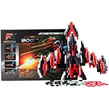 Pinblock Fusion Jet ''Red'' - Creative Smart Building Set for Boys and Girls with 900 Interlocking and Rotating Blocks, 2-in-1 Manual Included