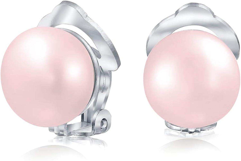 Estilo de botón agua dulce cultivado perla clip en los pendientes de la bola para las mujeres de plata esterlina no perforado orejas más colores
