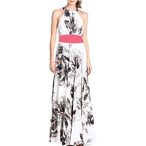 Riveroy Women's Floral Print Hollow Out Prom Plus Size Long Maxi Dress 3XL White