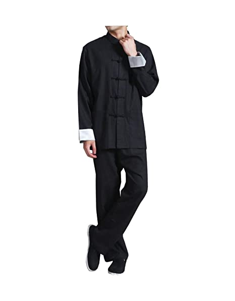 Cotone e Lino Abbigliamento Tang Vestito da Uomo in Stile Etnico a Maniche  Lunghe in Lino Tang Vecchio Panno Vecchio Stile Cinese Nero  Amazon.it  ... 84aa19d1017