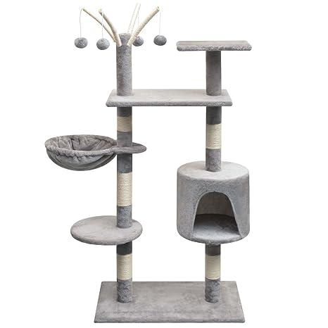SENLUOWX Rascador para Gatos con poste Rascador de sisal 125 cm gris