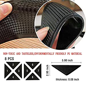 YKHXGD Rug Grippers,Non Slip Carpet Gripper for Area Rugs Double-Sided Curl-Proof Carpet Mat Tape Washable Carpet Gripper,and Reusable Pads for Tile Floor Mat,Carpet,Floor Mat,Wall,Black 8 pcs