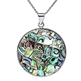 Gorgeous Multi-Color Abalone Shell Circle Pendant with 18 Inch Chain