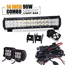 TURBO SII 14 inch Led Work Light Bar 90w Spot Flood Combo Beam Off-road Light bar + 4 Inch led pod fog lights &3 lead Wirng Harness Kit For Jeep Tractor Boat Off-Road SUV ATV Truck