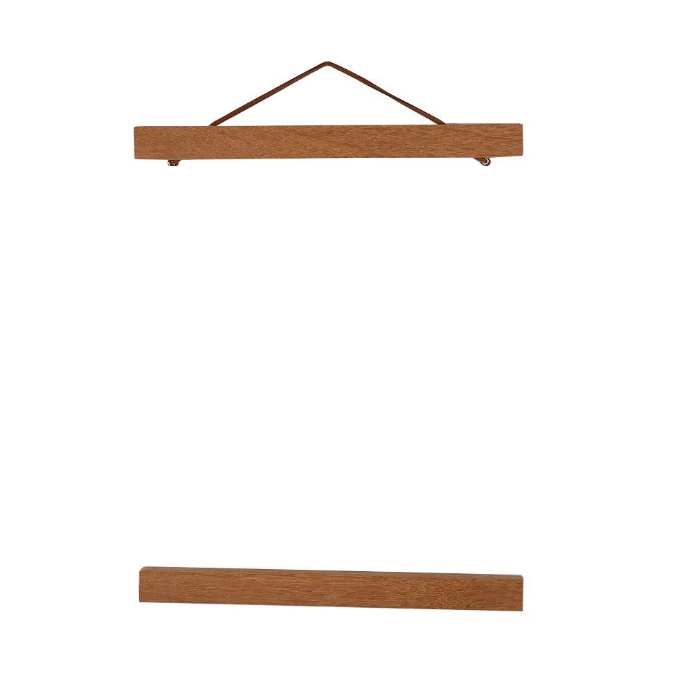 Wooden Photo Frame Modern Magnetic DIY Custom Poster Scroll Prints Artwork Hanger Teak Wood (21cm)