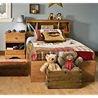 South Shore Amesbury Kids Twin Wood Captains Bed 3 Piece Bedroom Set in Country Pine
