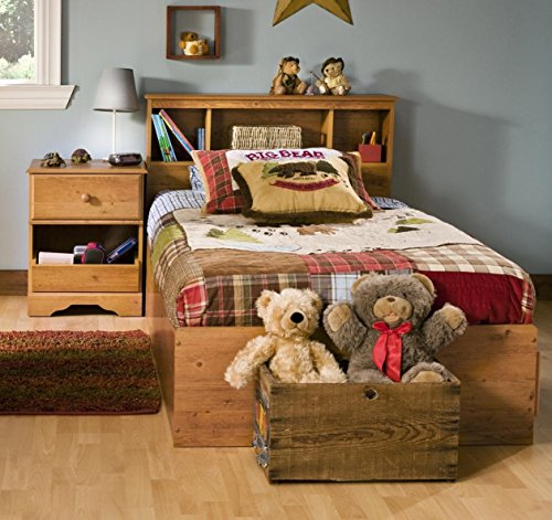 South Shore Amesbury Kids Twin Wood Captain's Bed 3 Piece Bedroom Set in Country Pine by South Shore