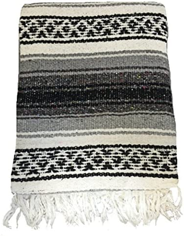 El Molcajete Brand Traditional Mexican Blanket Serape for Yoga, Beach, Picnic, Stadium or Dogs Bed