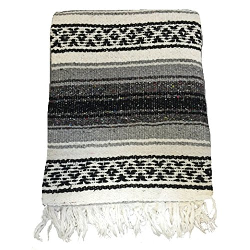 El Mocajete Brand Traditional Mexican Yoga Blanket Grey