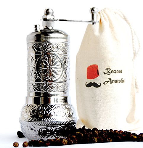 Bazaar Anatolia Pepper Mill, Spice Grinder, Pepper Grinder 4.2' (Silver)