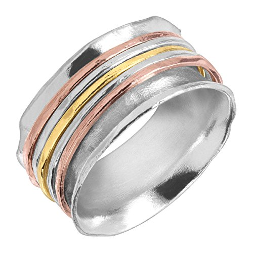 Silpada 'Gold Rush' Spinner Ring in Sterling Silver & 18K Yellow & Rose Gold Plate by Silpada (Image #1)