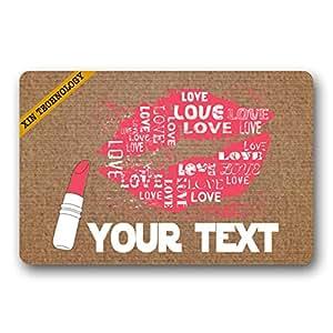 """Artsbaba Doormat Personalized Your Text Door Mat Love Lips Doormats Monogram Non-Slip Doormat Non-woven Fabric Floor Mat Indoor Entrance Rug Decor Mat 23.6"""" x 15.7"""""""