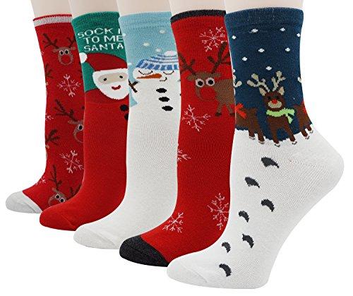 Womens Ladys 5 Pack of Soft Christmas Moose Santa Snowflake Print Slipper Socks