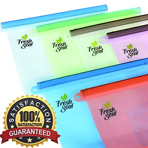 - Fresh Seal Reusable Silicone Food Storage Bags   6 Pack Set   Microwave, Refrigerator & Dishwasher Safe   Eco-Friendly, Reusable & Recyclable   FDA & SGS Approved 100% High Quality Food Grade Silicone