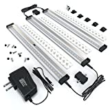 EShine 3 12 Inch Panels LED Dimmable Under Cabinet Lighting Kit, Hand Wave Activated - Touchless Dimming Control, Cool White (6000K)