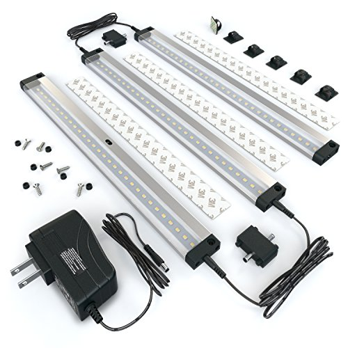 EShine 3 12 inch Panels LED Under Cabinet Lighting, with IR Sensor! Hand Wave Activated - Bright, Strong and Stable - Easy to Install, Screw and 3M Sticker Options Included - Deluxe Kit, Warm White
