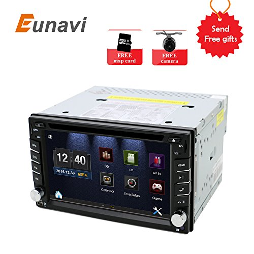 Universal Car Stereo with Navigation, Eunavi 6.2-inch In Dash 2 Din Car GPS Touch Screen Car DVD Player with Bluetooth USB SD MP3 Car Radio with Backup Camera and Map Card (Gps Windows Wifi)