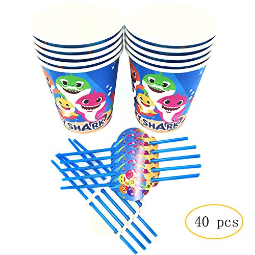MC TTL Baby Shark Party Cups and Straws Set, 20 9oz Paper Cups + 20 Shark Straws for Baby Shower Birthday Party Favors Decoration Supplies -