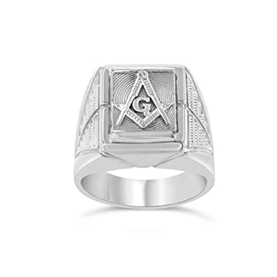 d363e6b4e Men's Fancy Sterling Silver Freemason Symbol Masonic Ring Amazon.com
