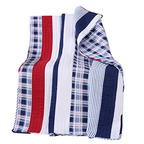 - Greenland Home Quilted Throw, Nautical Stripe