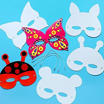 Creature Masks for Children to Color-in Decorate and Wear at a Fancy Dress Party (Pack of 12)