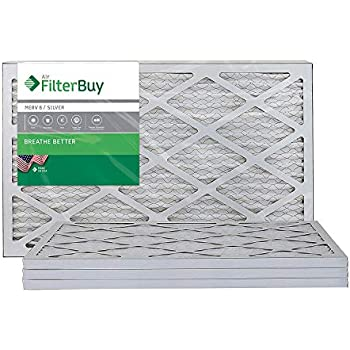 FilterBuy AFB MERV 8 14x20x1 Pleated AC Furnace Air Filter, (Pack of 4 Filters), 14x20x1 - Silver