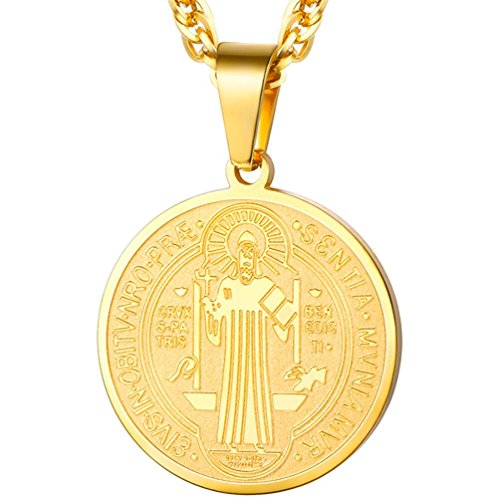 - PROSTEEL Saint Benedict Religious Cross Medal Pendant Necklace Catholic Gift Vintage French Talisman Amulet 18K Gold Plated Men Women Christian Jewelry