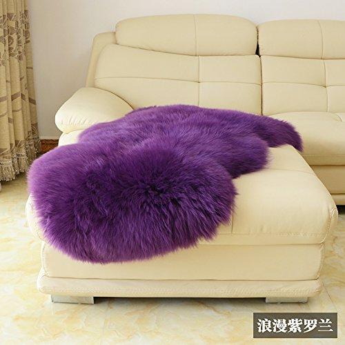 Violet Blue Natural - HUAHOO Genuine SheepSkin Rug Real Sheepskin Blanket Natural Fur (Single/2ft x 3ft, Violet)