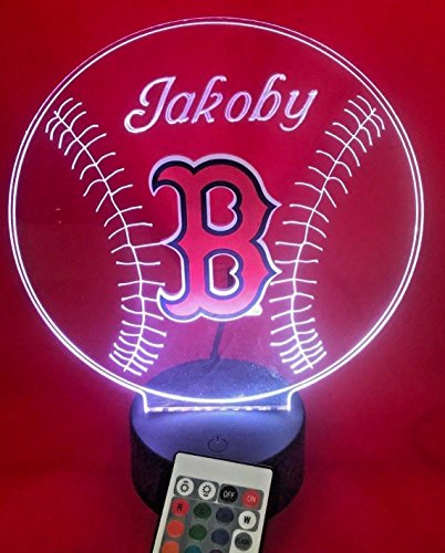 Red Sox Baseball Light Up Lamp LED Remote Personalized Red Sox Baseball Table Lamp, Our Newest Feature - It's Wow, Red Sox Baseball with Remote 16 Color Options, Dimmer, Free ()