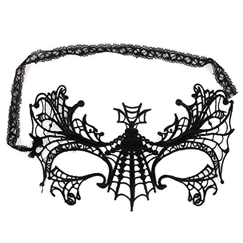 TOOGOO(R)Masquerade Mask for Eyes Lace Masquerade Mask Spider Web Pattern Black