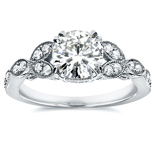 Antique Round-cut Moissanite Engagement Ring with Diamond 1 1/5 CTW 14k White Gold, Size 7.5 from Kobelli