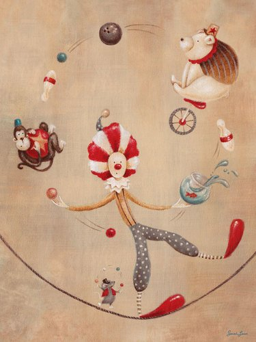 Oopsy daisy, Fine Art for Kids Vintage Circus Clown Stretched Canvas Art by Sarah Lowe, 18 by 24-Inch