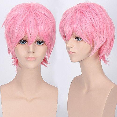Short Anime Cosplay La Parure Heiwajima Shizuo Costume Synthetic Hair Men's Full Wigs (Pink) (Short Pink Wig)