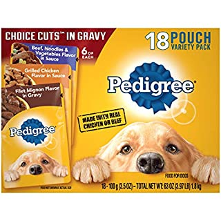 PEDIGREE CHOICE CUTS in Gravy Adult Soft Wet Meaty Dog Food Variety Pack, (18) 3.5 oz. Pouches