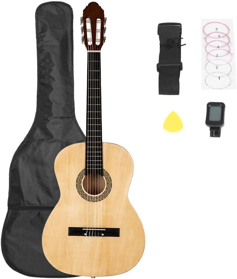 Guitarra clásica de 38 pulgadas con bolsa, tabla y cinturón y ...