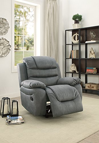 Leatherette Rocker Recliner In Slate Gray by Poundex