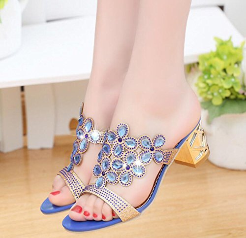 Bleu Clair Royalblue Bleu Avec Strass 4Cm Royal Sandales Épais Haute Lady Noir Mousseux Summer Or Fleurs 7nZOOP