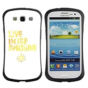 "Hypernova Slim Fit Dual Barniz Protector Caso Case Funda Para SAMSUNG Galaxy S3 III / i9300 / i747 [Vive Cita Sol Sun Amarillo Blanco""]"